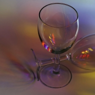 Empty Glasses with coloured gels